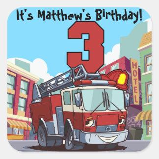 Adesivo Quadrado Carro de bombeiros do aniversário de 3 anos