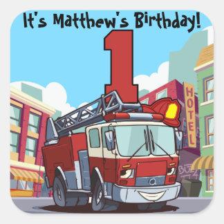 Adesivo Quadrado Carro de bombeiros do primeiro aniversario