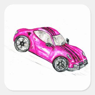 Adesivo Quadrado Carro desportivo Sketch2