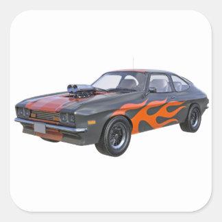 Adesivo Quadrado carro do músculo dos anos 70 com chama alaranjada