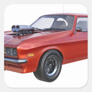 Adesivo Quadrado carro vermelho do músculo dos anos 70