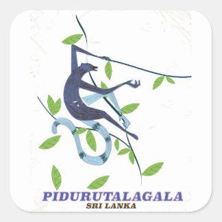 Adesivo Quadrado Cartaz do viagem de Pidurutalagala Sri Lanka