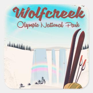 Adesivo Quadrado Cartaz olímpico do viagem do parque nacional de
