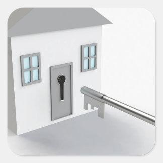 Adesivo Quadrado Casa chave, mediador imobiliário, vendendo