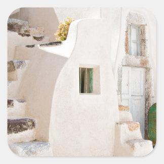 Adesivo Quadrado Casa em Santorini