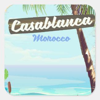 Adesivo Quadrado Casablanca Marrocos, poster vintage romântico