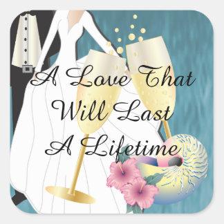 Adesivo Quadrado Casal tropical elegante do casamento