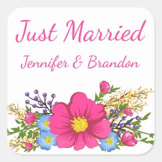 Adesivo Quadrado Casamento cor-de-rosa floral da flor da aguarela