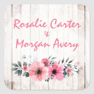 Adesivo Quadrado Casamento coral chique do país cor-de-rosa floral