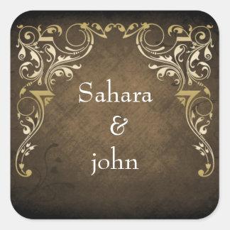 Adesivo Quadrado Casamento decorativo régio rústico de Brown e de