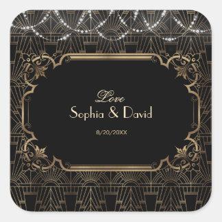 Adesivo Quadrado Casamento do art deco 20s de Gatsby do ouro preto