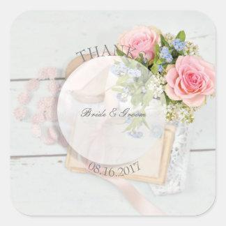 Adesivo Quadrado Casamento editável da flor romântica do primavera