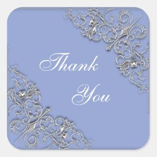 Adesivo Quadrado Casamento elegante azul e de prata