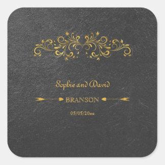 Adesivo Quadrado Casamento elegante do preto do Flourish da folha