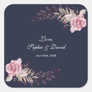 Adesivo Quadrado Casamento floral da aguarela do marinho marrom de