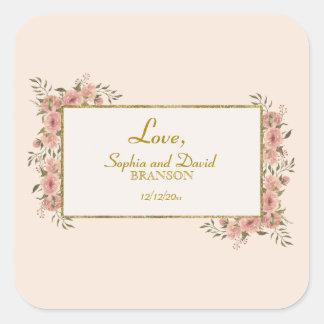 Adesivo Quadrado Casamento floral do quadro da folha de ouro do