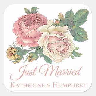 Adesivo Quadrado Casamento floral do recem casados floral do rosa