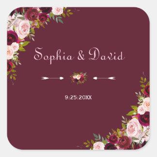 Adesivo Quadrado Casamento floral elegante de Borgonha Marsala