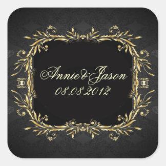Adesivo Quadrado Casamento formal régio do preto elegante do ouro
