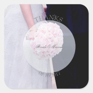 Adesivo Quadrado Casamento-Obrigados editáveis da noiva & do noivo