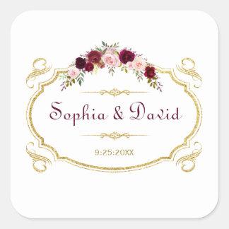 Adesivo Quadrado Casamento outono floral elegante de Borgonha