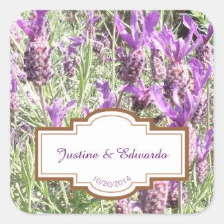 Adesivo Quadrado Casamento personalizado flores da lavanda francesa