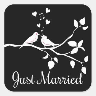 Adesivo Quadrado Casamento preto e branco do recem casados dos