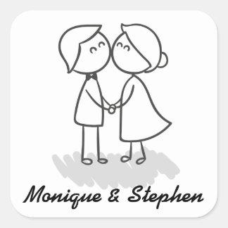 Adesivo Quadrado Casamento preto e branco dos desenhos animados dos