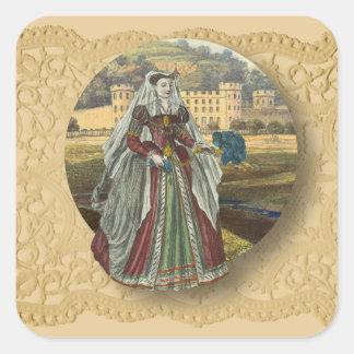 Adesivo Quadrado Castelo e mulher medievais