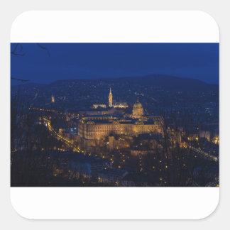 Adesivo Quadrado Castelo Hungria Budapest de Buda na noite