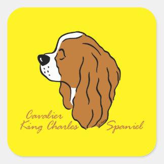 Adesivo Quadrado Cavalier rei Charles spaniel cabeça silhueta