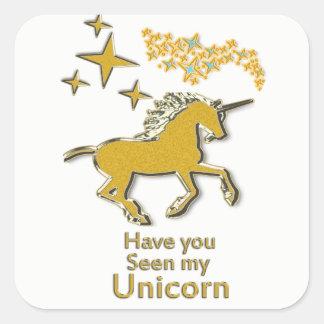 Adesivo Quadrado Cavalo do pônei do unicórnio do ouro com estrelas