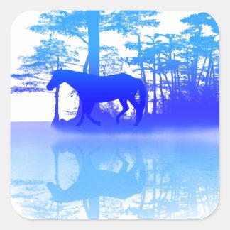 Adesivo Quadrado Cavalo no crepúsculo