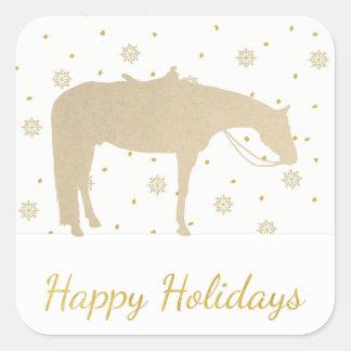 Adesivo Quadrado Cavalo ocidental branco do ouro do pergaminho do