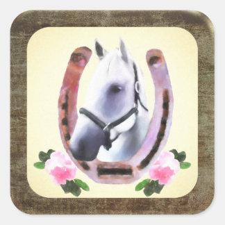 Adesivo Quadrado Cavalo pintado no quadro de couro do falso