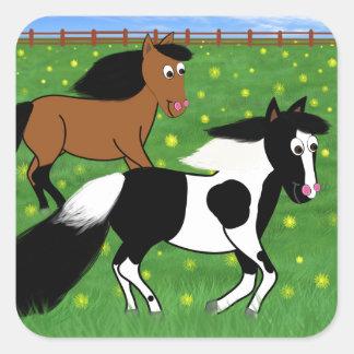 Adesivo Quadrado Cavalos dos desenhos animados que funcionam no