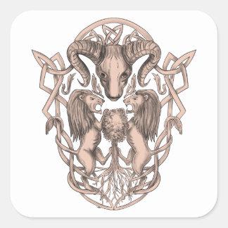 Adesivo Quadrado Céltico Knotwo da brasão da árvore do leão dos