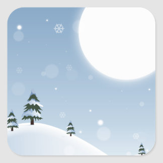 Adesivo Quadrado Cena da neve do inverno