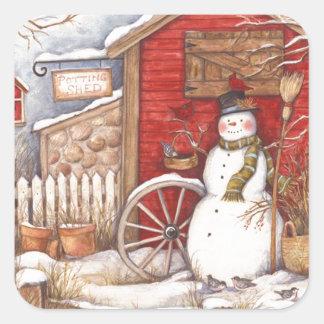 Adesivo Quadrado Cena rústica do inverno do boneco de neve