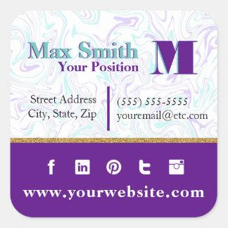 Adesivo Quadrado Cerceta marmoreada & customizável roxo