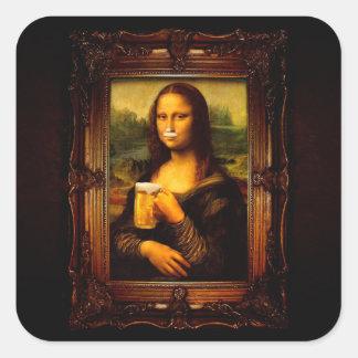 Adesivo Quadrado Cerveja de Mona lisa - de Mona lisa - lisa-cerveja