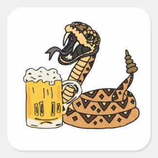 Adesivo Quadrado Cerveja engraçada do bebendo do cascavel