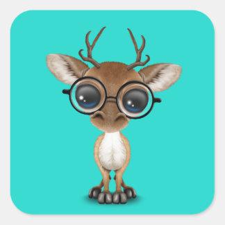 Adesivo Quadrado Cervos Nerdy do bebê que vestem vidros