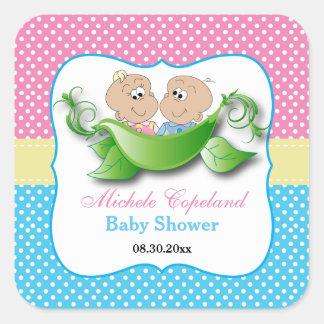 Adesivo Quadrado Chá de fraldas gêmeo - duas ervilhas em um vagem