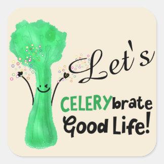 Adesivo Quadrado Chalaça positiva do aipo - boa vida de Celerybrate