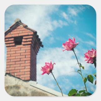 Adesivo Quadrado Chaminé e rosas selvagens