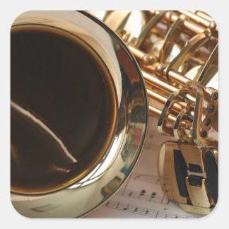 Adesivo Quadrado Chaves de Notenblatt do brilho do ouro da música