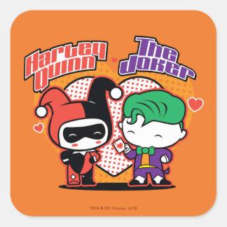 Adesivo Quadrado Chibi Harley Quinn & corações do palhaço de Chibi