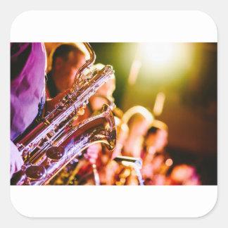 Adesivo Quadrado Chifres dos saxofones dos instrumentos musicais da