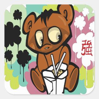 Adesivo Quadrado Chinês bonito dos desenhos animados do bebê do